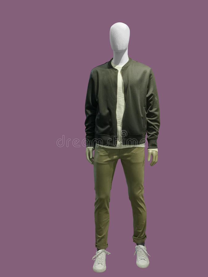 Full-length male mannequin. Dressed in casual clothes jacket and trousers, isolated. No brand names or copyright objects stock photos