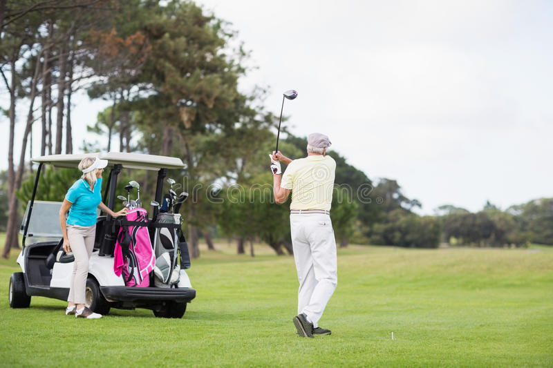 Full length of man taking shot at golf course royalty free stock photography