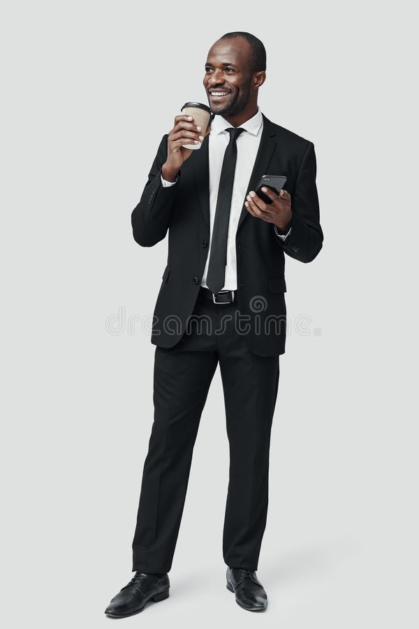 Full length of modern young African man stock photos