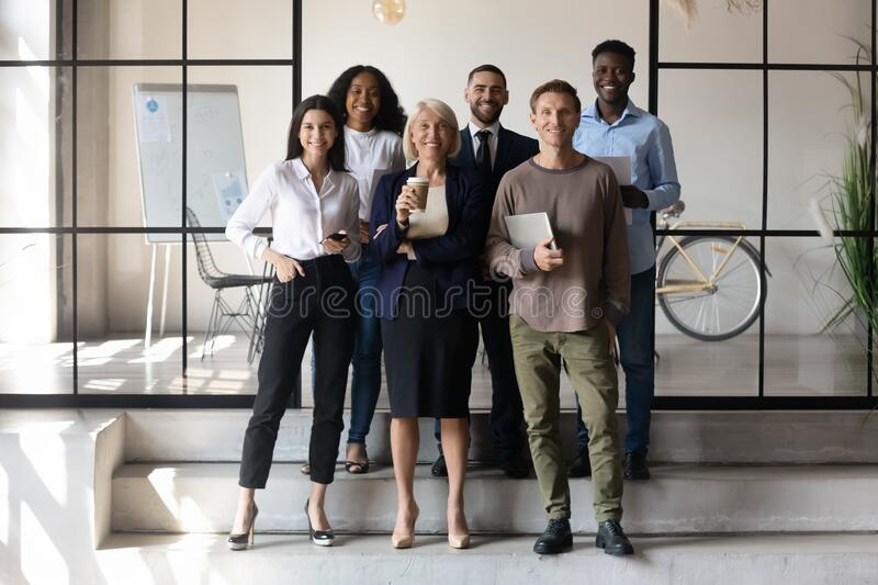 Full-length multicultural businesspeople company personnel successful staff portrait royalty free stock photography