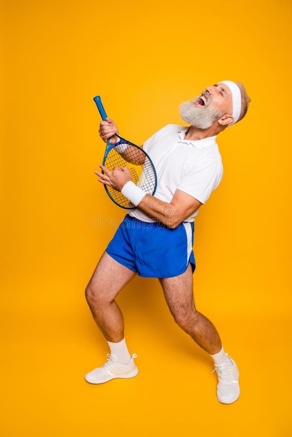 Free Full Length Of Emotional Cool Pensioner Grandpa Practising Stock Photography - 111721882