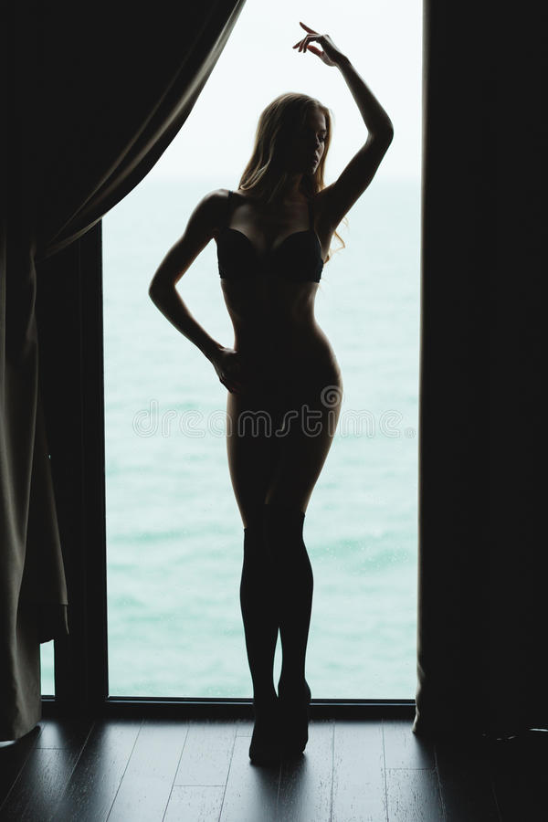 Free Full Length Of Tempting Beautiful Young Woman Silhouette Stock Image - 63732231