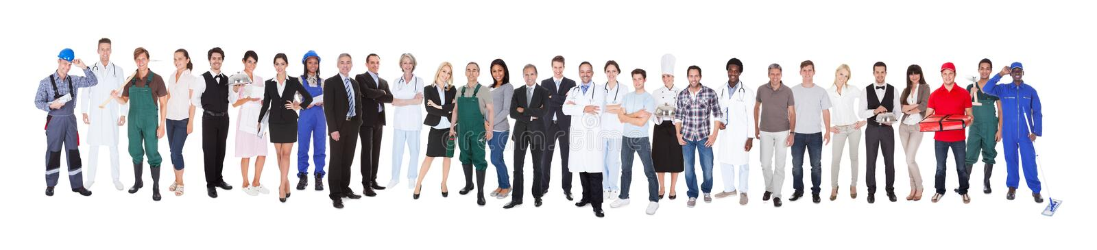 Full length of people with different occupations stock photo