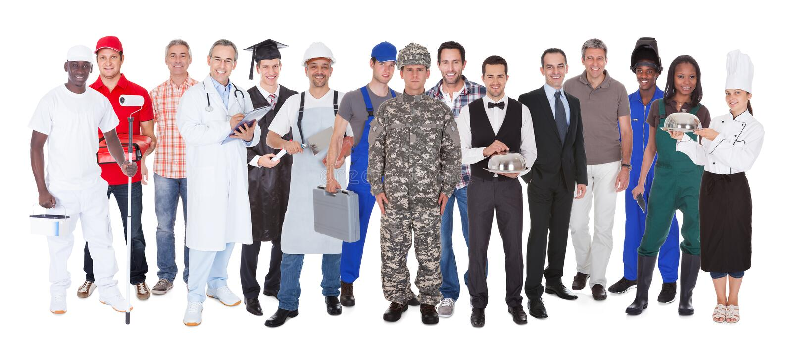 Full length of people with different occupations. Standing against white background stock images
