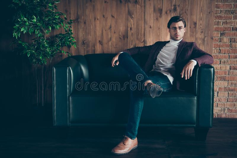 Full length photo of classy macho business guy looking side thinking about startup idea not smiling wear specs stylish stock image