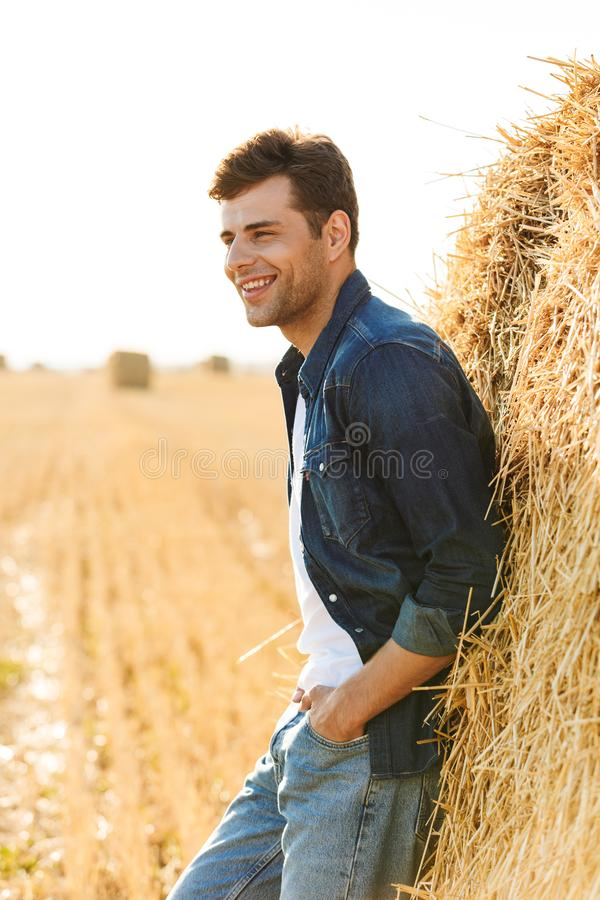 Full length photo of stylish man 30s walking through golden field, and standing near big haystack during sunny day. Full length photo of stylish man 30s walking stock images