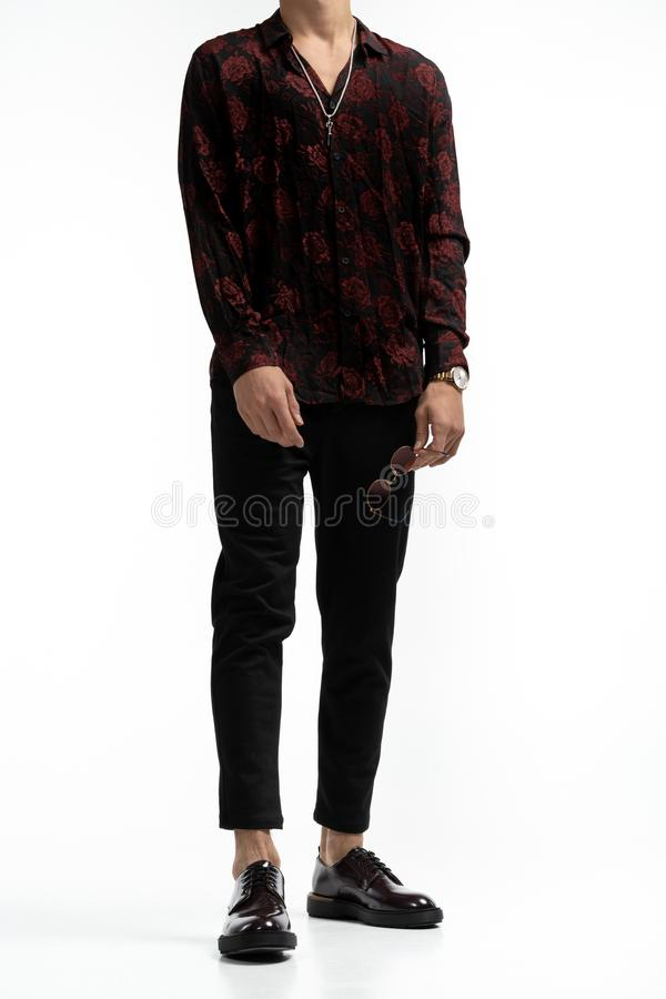 Full length portrait of amazing attractive man in stylish trendy clothes, isolated on white background, with cropped stock images