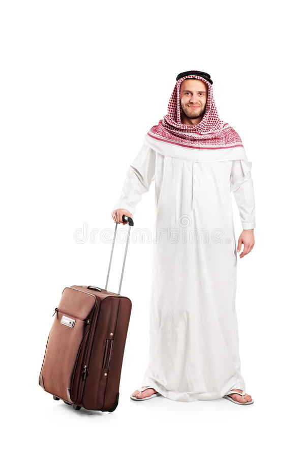 Full Length Portrait Of An Arab With A Suitcase Royalty Free Stock Photo