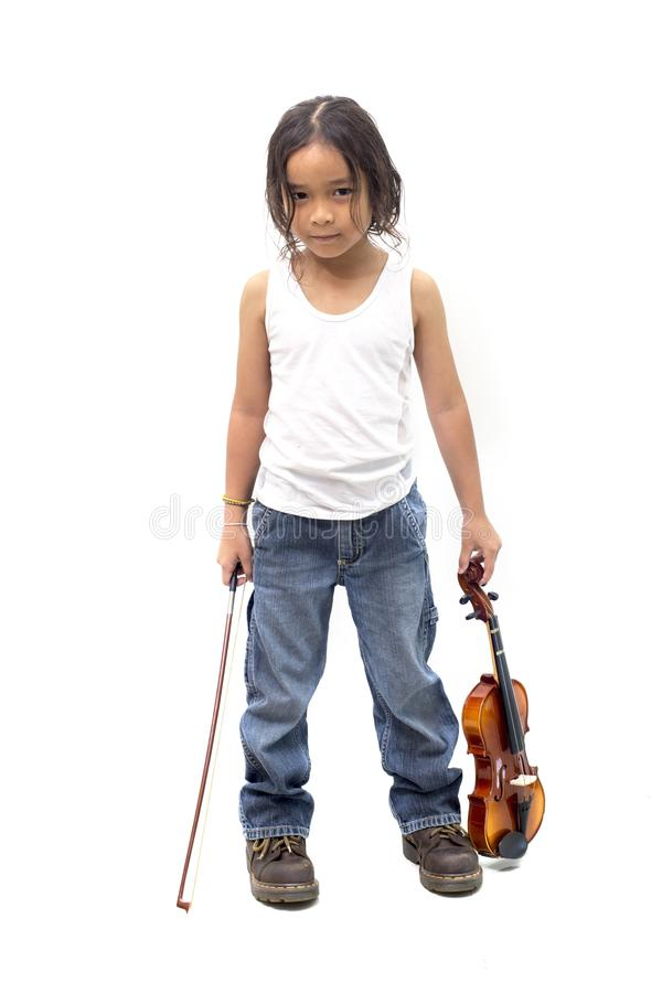 Full length portrait asian boy musician holding a violin isolated on white stock image