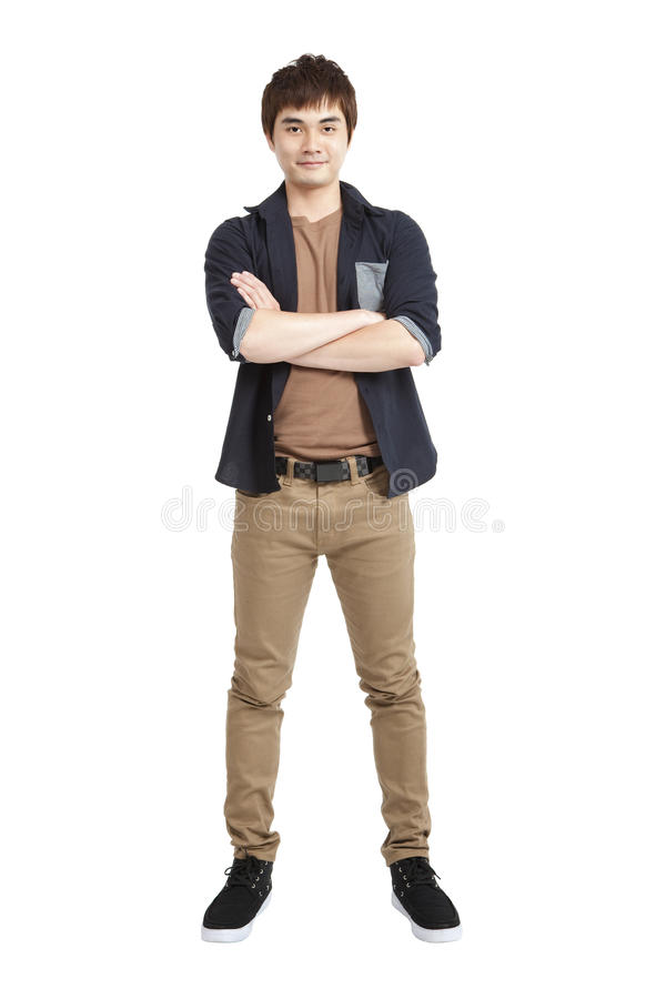 Full length portrait of Asian young man stock photography