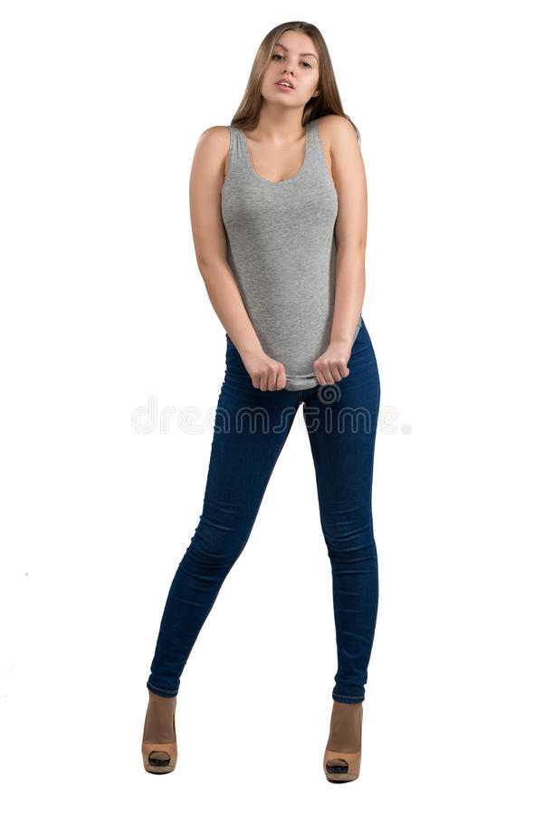 Full length portrait of attractive and hot girl in casual clothes download full length portrait of attractive and hot girl in casual clothes isolated on white voltagebd Images