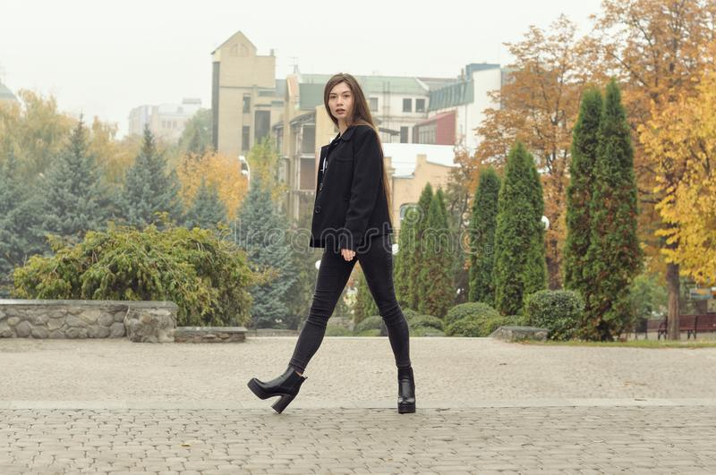 Full-length portrait of a beautiful slender girl royalty free stock images