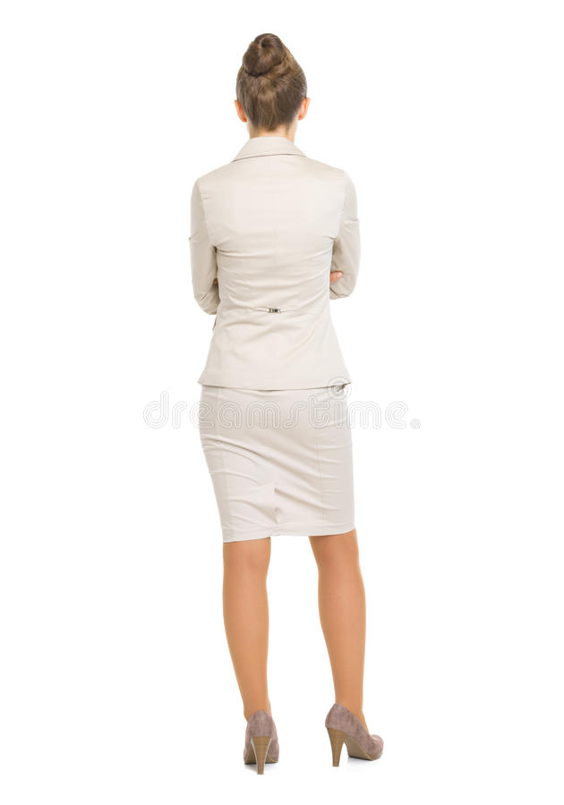 Full length portrait of business woman. rear view stock photo