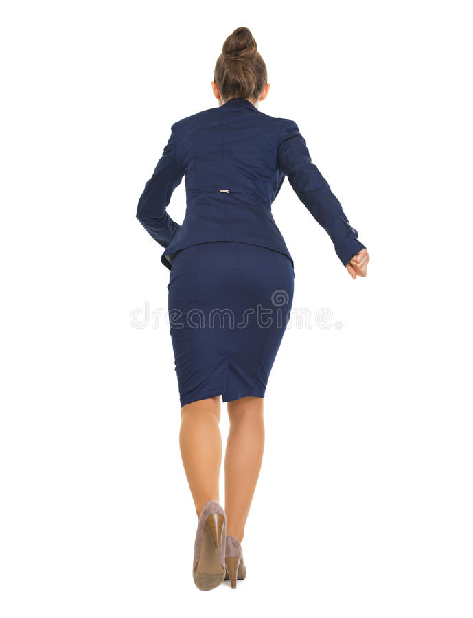 Full Length Portrait Of Business Woman Running Straight Royalty Free Stock Image