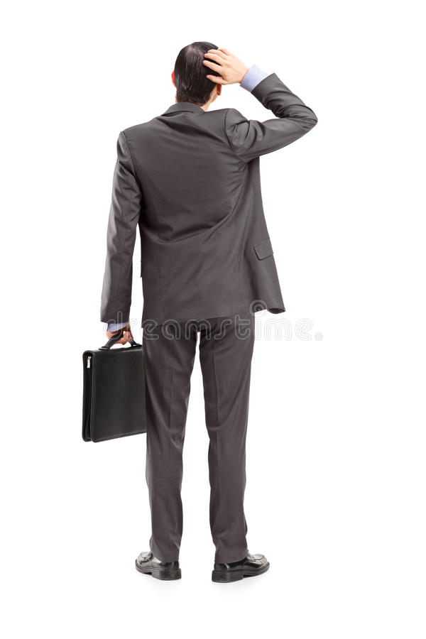 Full Length Portrait Of A Businessman With Briefcase, Holding Hi Stock Image