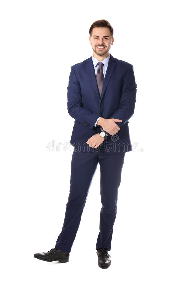 Full length portrait of businessman posing on white royalty free stock photography