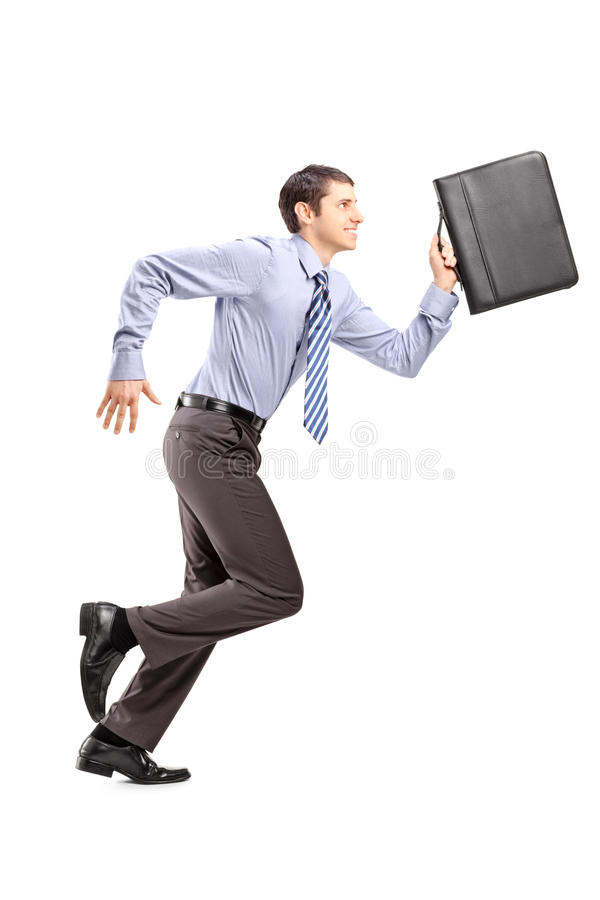 Download Full Length Portrait Of A Businessman Running With A Briefcase Stock Image - Image: 29888709