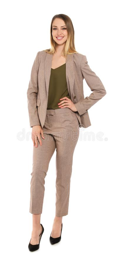 Full length portrait of businesswoman stock images