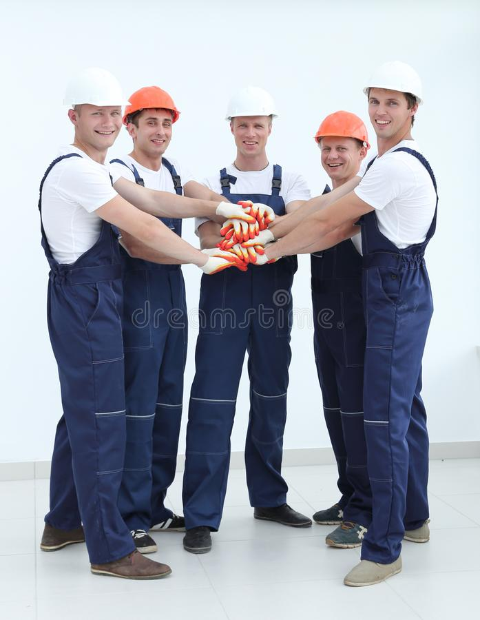 Group of professional industrial workers. royalty free stock photos