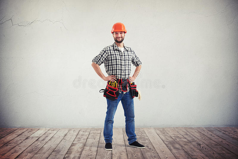 Full length portrait of a confident and smiling handyman stock photo