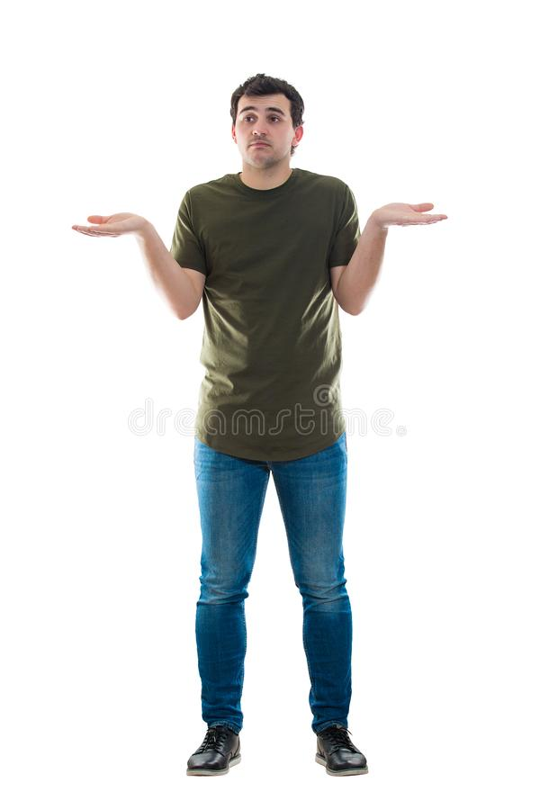 Casual male shrugs helpless gesture stock photos