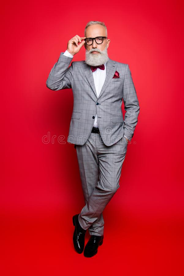 Full length portrait of cool stunning stylish trendy old man in royalty free stock photography