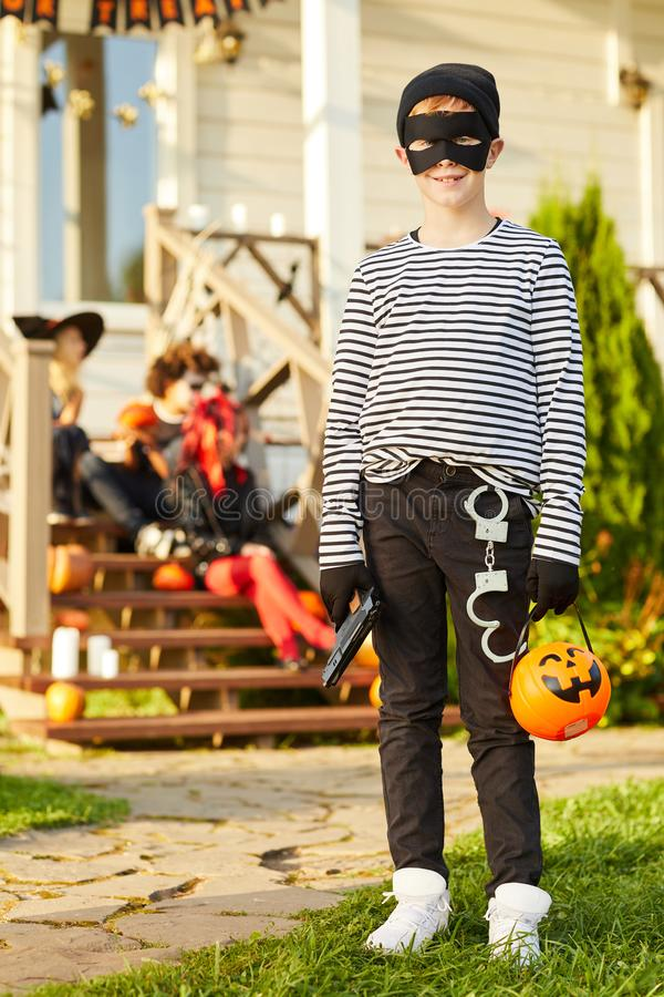 Little Bandit on Halloween stock images