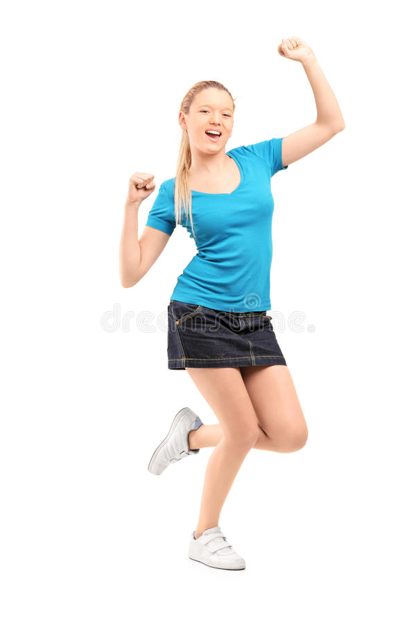 Download Full Length Portrait Of An Excited And Happy Young Female Stock Photo - Image: 28606942