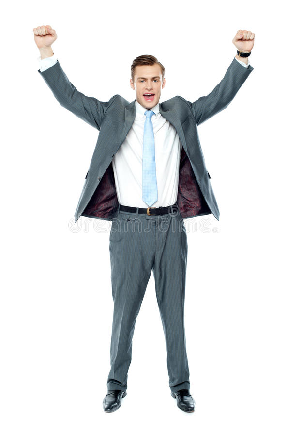 Full length portrait of a excited young executive stock photo