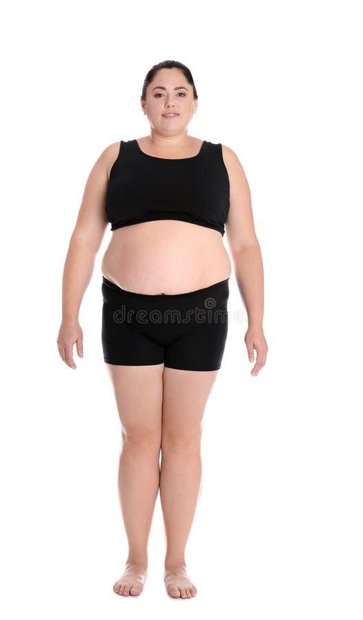 Full length portrait of fat woman stock photo