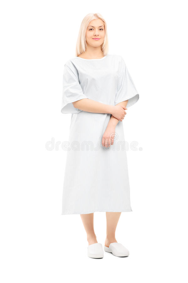 Full Length Portrait Of A Female Patient In A Hospital Gown Stock ...