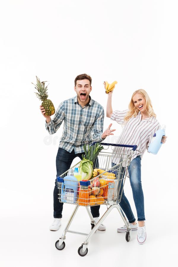 Full length portrait of a funny couple royalty free stock photo