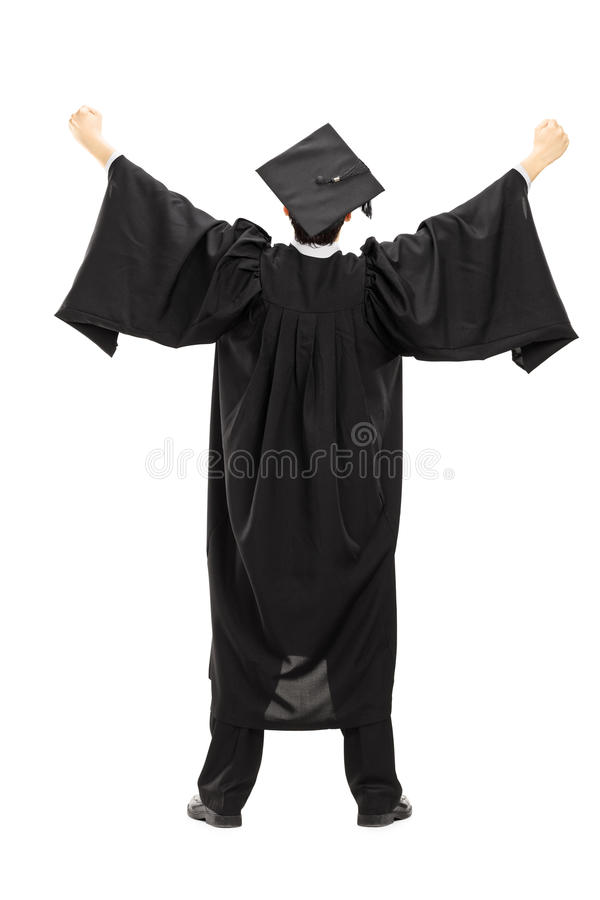 Full length portrait of graduate student with raised hands, rear stock images