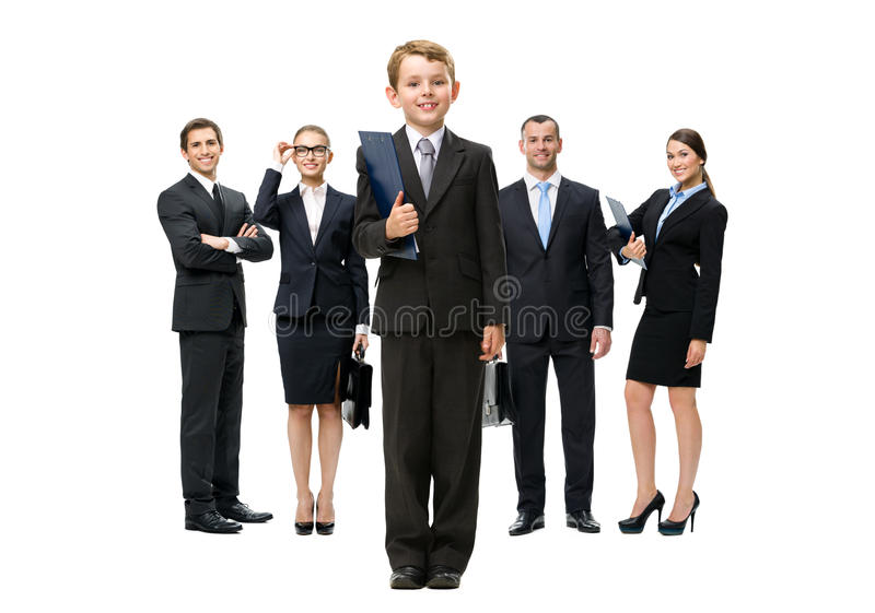 Full-length portrait of group of business people stock photo