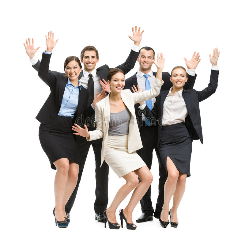 Full-length portrait of group of happy business people royalty free stock photography