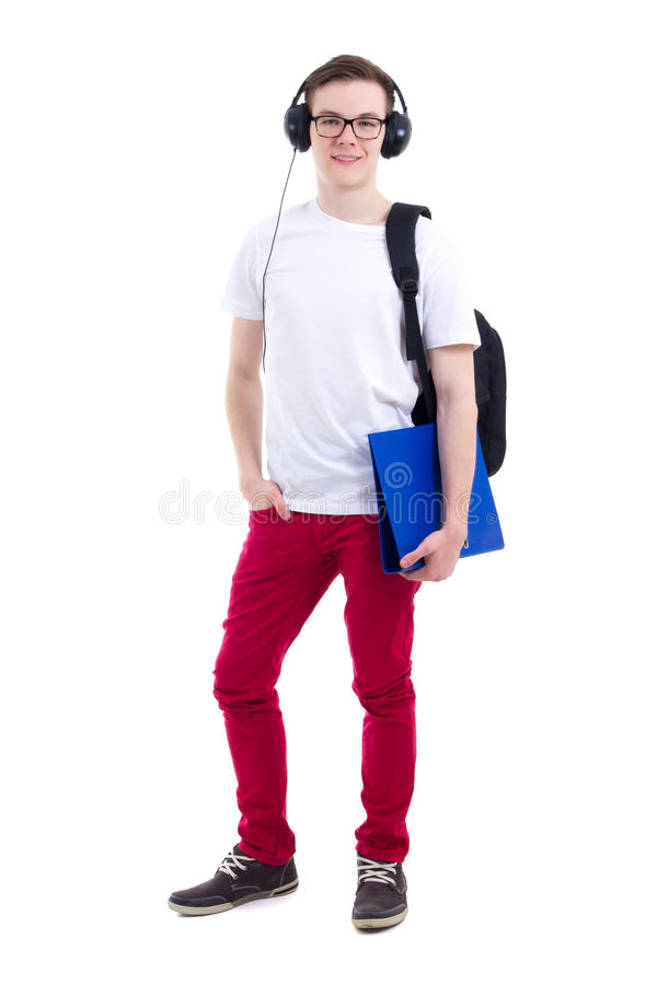 Full length portrait of handsome teenage boy with backpack and h royalty free stock photo