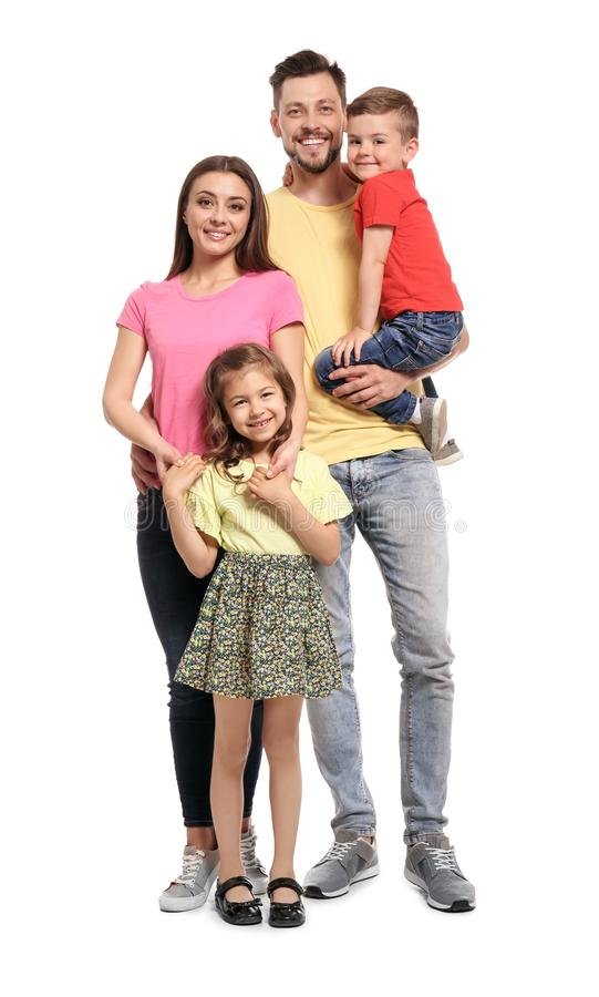Portrait of happy family with children on white background stock photo
