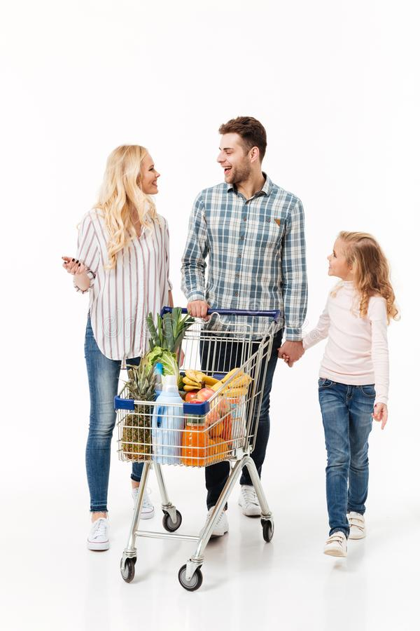 Full length portrait of a happy family stock image