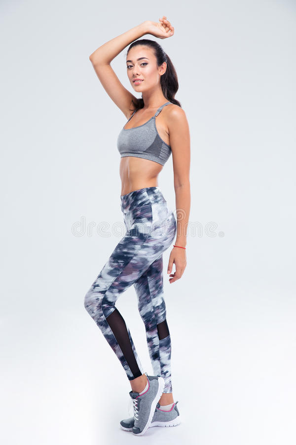 Full length portrait of a happy fitness girl stock images
