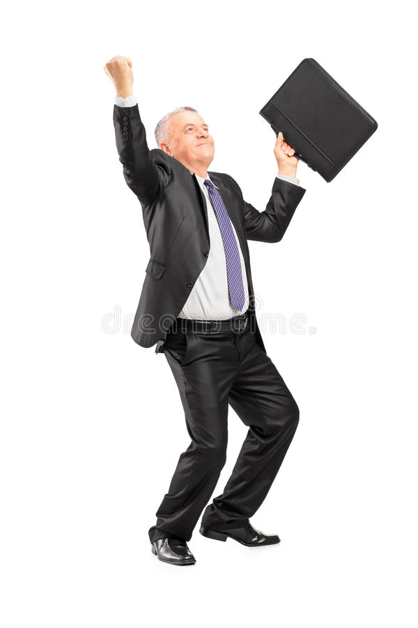 Full Length Portrait Of A Happy Mature Businessman With Raised H Royalty Free Stock Photos