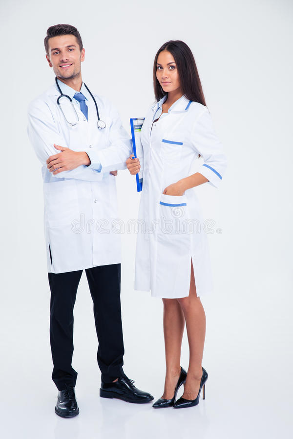 Full length portrait of a happy two medical workers stock photo