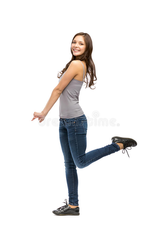 Full-length portrait of happy woman royalty free stock images