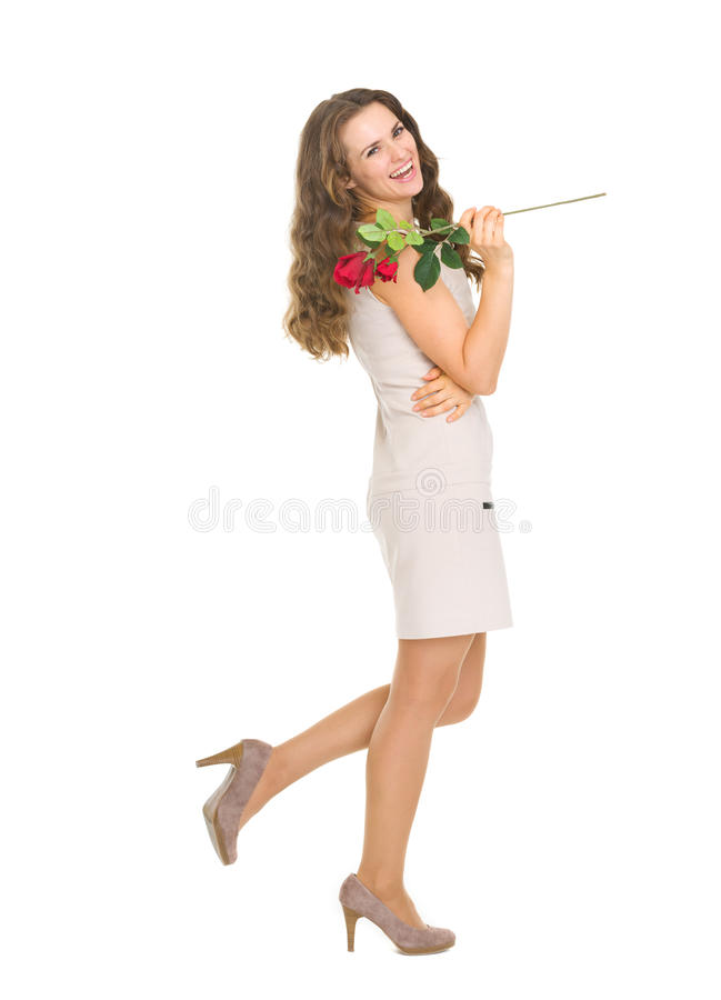 Download Full Length Portrait Of Happy Woman With Red Rose Stock Photo - Image: 28707620