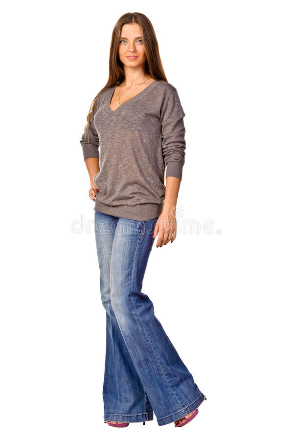 Full length portrait of a happy young woman royalty free stock image