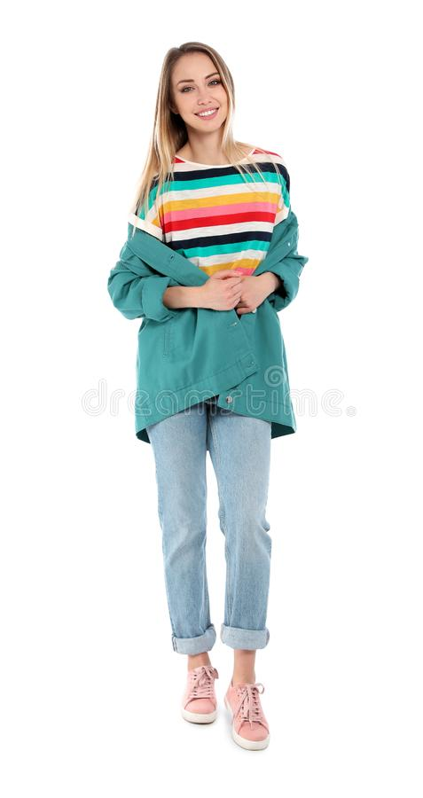 Full length portrait of happy young woman royalty free stock image