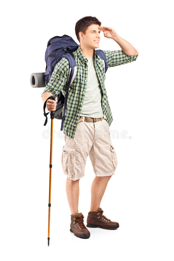 Download Full Length Portrait Of A Hiker With Backpack Looking Stock Photo - Image: 28310452