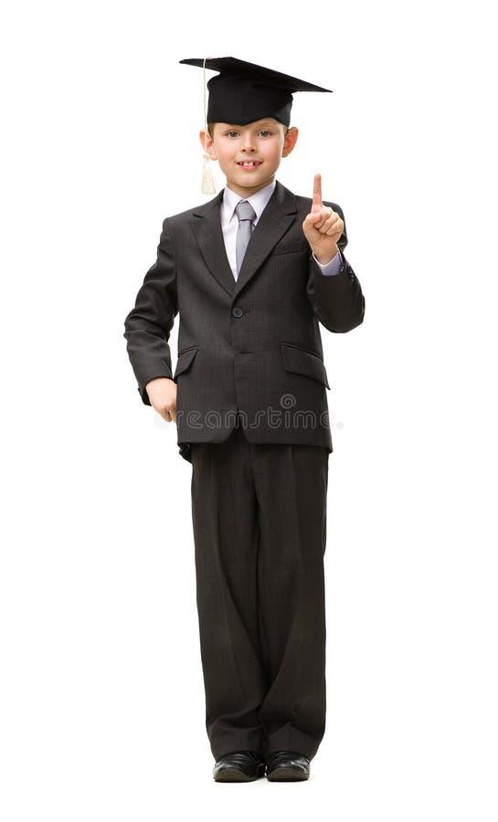 Full-length Portrait Of Little Student In Black Cap Stock Photos