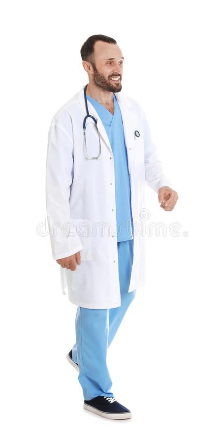 Full length portrait of male doctor on white. Medical staff stock images