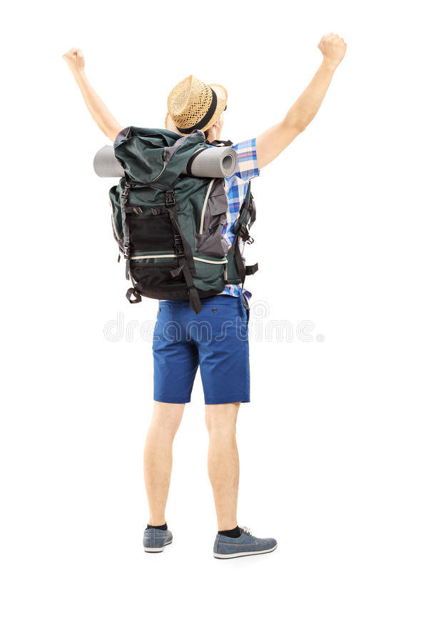 Download Full Length Portrait Of A Male Hiker With Raised Hands Gesturing Stock Photo - Image: 35133036