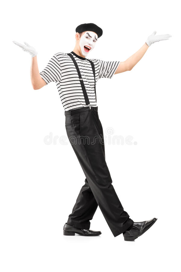 Download Full Length Portrait Of A Male Mime Dancer Gesturing With Hands Stock Photo - Image: 30404424